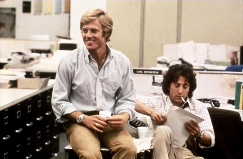 """Dans """" Les Hommes du Président"""", tiré du scandale du Watergate, Robert Redford et Dustin Hoffman interprètent les rôles des deux journalistes du Washington Post !"""