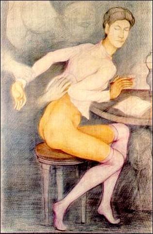 """La toile """"Roberte agressée par les esprits qu'elle censure"""" a été réalisée par Pierre Klossowski, qui était le frère d'un peintre célèbre mort en février, qui était son frère ?"""