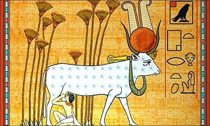 Quelle est cette déesse de l'Egypte antique, déesse de l'amour et de la joie, adorée sous la forme d'une vache ?