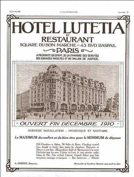 """L'hôtel fut construit en 1910 par madame Boucicaut """"afin que ses importants clients de province fussent logés dans un établissement tout proche et correspondant à leur train de vie quand ils venaient faire leurs courses à Paris """" Mais que faisait au juste madame Boucicaut ? (grandir la photo pour un bon indice)"""