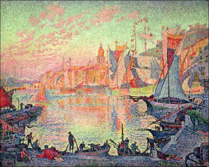 Voici une toile de Paul Signac, qui représente un port d'une petite ville du Var :