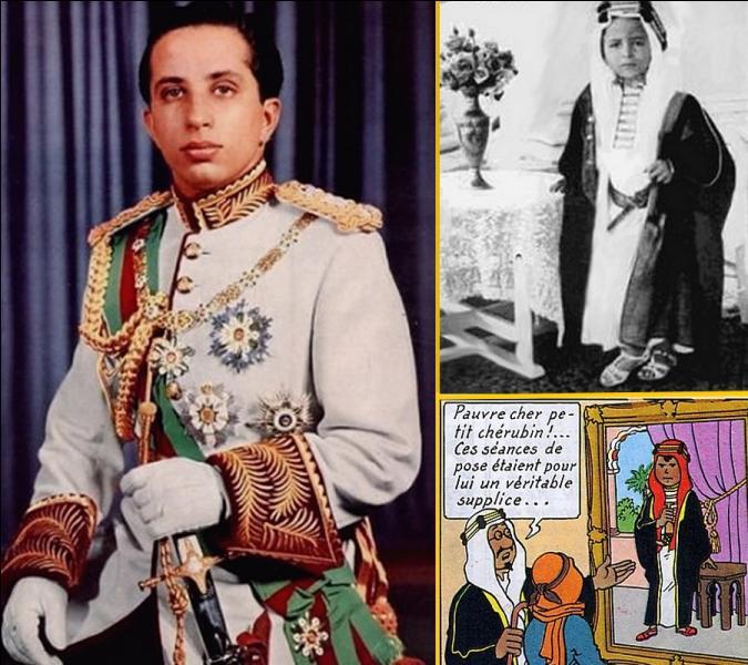 Assassiné avec toute sa famille en 1958 , le dessinateur Hergé s'est inspiré de ce roi pour dessiner Abdallah, fils de l'Emir du Khemed dans l'album « Tintin au pays de l'or noir» et «Coke en stock»...