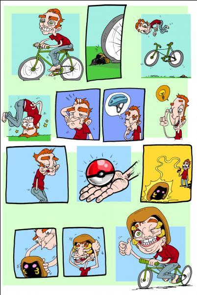 Quel Pokémon cet homme utilise-t-il comme casque de vélo ?