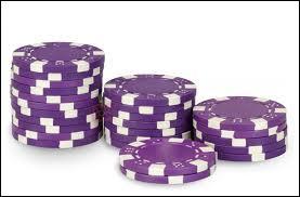"""Dans le jeu du """"Poker"""", à quelle somme d'argent correspond un jeton de couleur violette ?"""