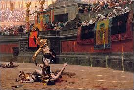 Les combats de gladiateurs trouvent leur origine en Etrurie, une région du Péloponnèse (Grèce).