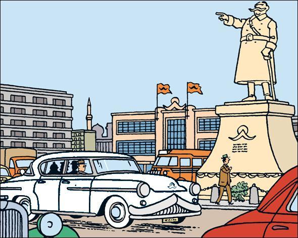 """Quelle est la couleur de la voiture qui emmène Tintin à Szohôd dans """"L'affaire Tournesol"""" ?"""