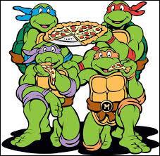 """Parmi ces personnages de la série télévisée """"Tortues Ninja"""", lequel est un grand mangeur de pizza ?"""
