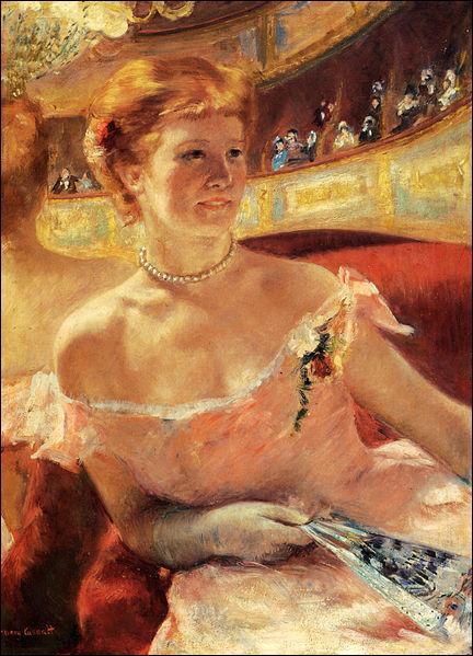 """Qui a peint """"Jeune femme au collier de perles dans une loge"""" ?"""