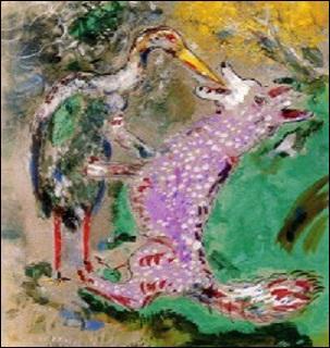 Que dit le loup à la cigogne dans la fable de Jean de La Fontaine ?