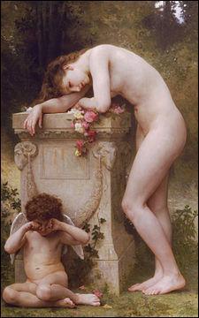 """""""Élégie et manque d'amour"""" peinture de William Bouguereau."""