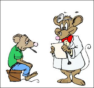 Je suis malade, Docteur ! Qu'ai-je donc dans la gorge, dis la petite souris, bien enrouée ?
