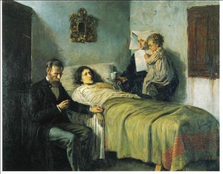 Qui a peint ce médecin et un enfant auprès d'une femme malade qui est une mendiante ?