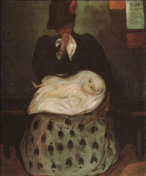 """Qui a représenté cette """"mère en pleurs"""" auprès d'un enfant malade, voire mourant ?"""