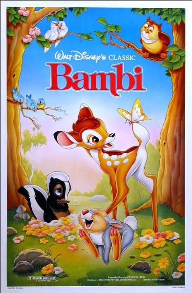 """Quel personnage ne fait pas partie du dessin animé """"Bambi"""" ?"""