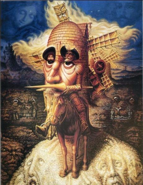 Don Quichotte et son compagnon Sancho Panza combattent des moulins à vent. Qui les a ainsi illustrés ?