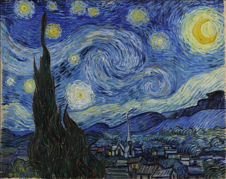 La très célèbre nuit étoilée de l'homme à l'oreille coupée. Quel maître à la renommée désormais internationale a peint cette œuvre ?