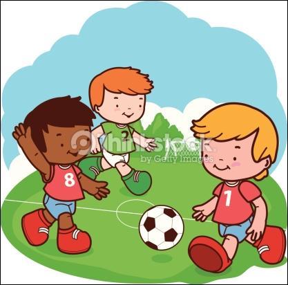 La _____ des garçons font du football. Aujourd'hui, ce sont les rouges contre les verts.