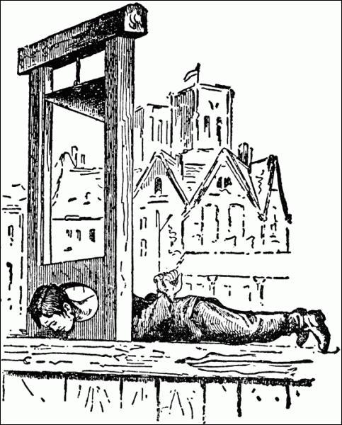 Voici enfin le joujou ultime qui arrive : la guillotine. Papa Charles Henri s'amuse avec fiston et avant que tout soit au point, on s'entraîne sur des moutons. Il faut corriger la lame, le couperet oblique est approuvé. Voici venir le premier client qui inaugurera le joujou. Nicolas Jacques Pelletier aura la tête parfaitement tranchée. Le public est déçu, le lendemain une chanson circule qui va...