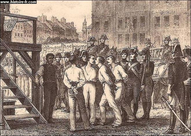 Henri Sanson va trancher des têtes pendant 35 ans dont au moins un innocent Joseph Lesurques qui fut exécuté dans l'affaire du courrier de Lyon et aussi les 4 sergents de La Rochelle accusés de bonapartisme et d'avoir voulu renverser la monarchie et guillotinés le 21 septembre 1822. Ces 4 sergents entrent dans la légende et en mai 1968 que se passe-t-il ?