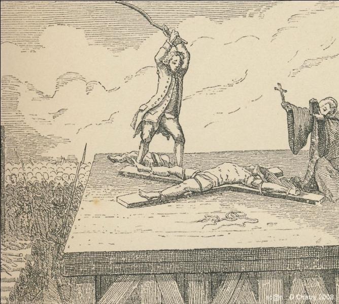 La même année, Charles Sanson II épouse à Paris la sœur de sa belle-mère, c'est-à-dire la sœur de la seconde épouse de son père, Anne Marthe Dubut (deuxième sœur du bourreau de Melun). Décidément ça commence à sentir l'inceste. Quelle est la première célébrité qu'il décapite en 1720 à l'âge de 24 ans, après l'avoir roué de coups à vif ?