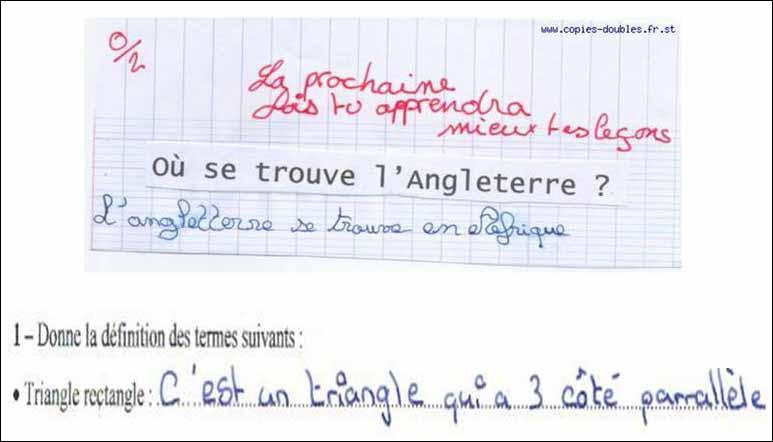 Regardez bien cette copie d'élève, que pourriez-vous répondre au prof ?