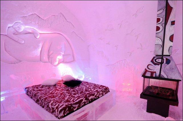 Voici une chambre de l'hôtel de glace de....et cette suite s'appelait....