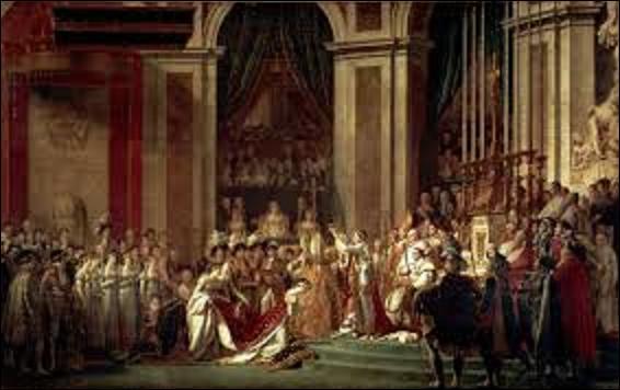 """Il peignit pour l'empereur et l'empire plusieurs tableaux comme : """"Le Couronnement"""", """"La Distribution des Aigles"""", et bien entendu """"Le Sacre de Napoléon"""", en 1808. Sur cette toile, d'une dimension immense (H : 6, 21 m x L : 9, 79 m), plusieurs personnages ont été rajoutés par l'auteur ; mais lequel est resté dans la mémoire collective ?"""