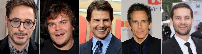 Dans lequel de ces films Robert Downey Jr, Jack Black, Tom Cruise, Ben Stiller et Tobey McGuire jouent-ils ?