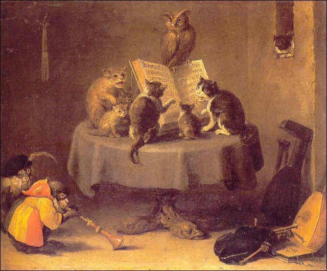 Des chats sont assis sur la table. Que font-ils ?