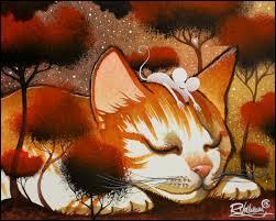 Le chat dort. Qui se repose sur sa tête ?