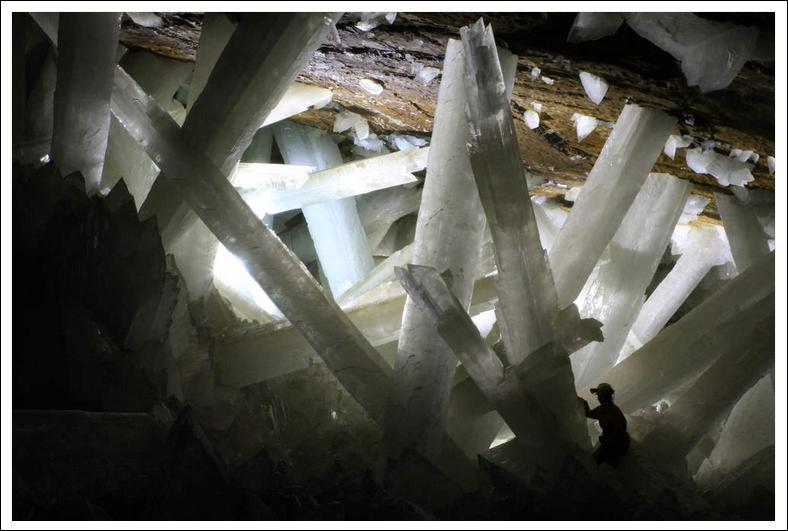 Mine de rien, ces cristaux sont énormes, dans le gisement gypseux de Naïca au Mexique. Quelle taille peuvent-ils atteindre ?