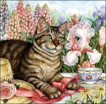 Que vois-tu à côté du chat, devant les fleurs ?