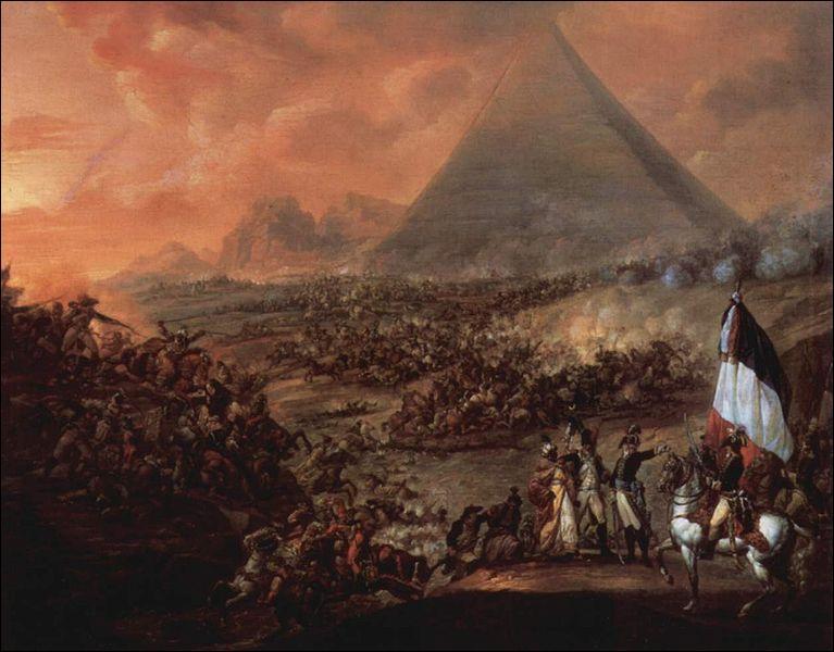 Qu'est-ce qui fait de la bataille des Pyramides, une des batailles les plus emblématiques de l'ère napoléonienne ? (plusieurs réponses possibles)