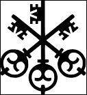 Quelle institution financière a choisi un logo avec trois clefs croisées ?
