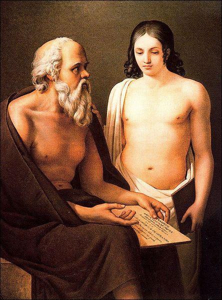 Qui est ce jeune Athénien, recevant du philosophe Socrate une déclaration d'amour ?