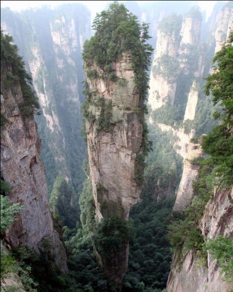 Le parc national de Zhangjiajie a été classé au patrimoine mondial de l'humanité de l'Unesco en 1992. On peut y découvrir les monts Tianzy dont certains pics culminent à 1 250 mètres de hauteur. Quel film (ennuyant au possible) a inspiré et rendu célèbre ces montagnes ?