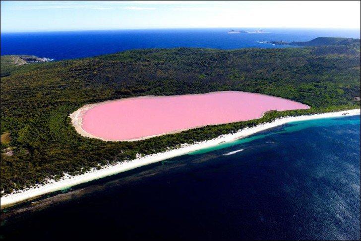 On peut se baigner dedans sans danger car l'algue qui provoque cette coloration naturelle n'est pas toxique pour l'homme. C'est le fameux....