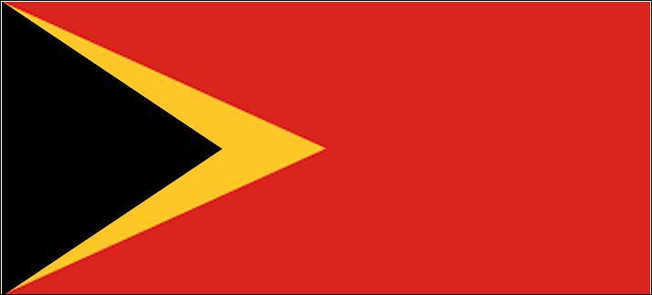 Quelle forme devrait se trouver dans le triangle noir pour pouvoir reconnaître la bannière du Timor-Oriental ?