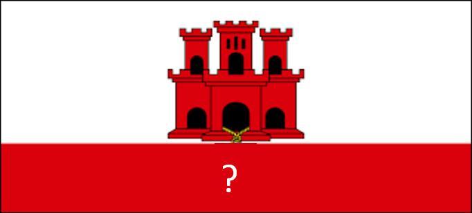 Que manque-t-il à la place du point d'interrogation sur le drapeau de Gibraltar ?