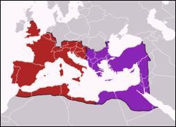 Quand l'Empire romain s'est-il divisé pour former l'Empire romain d'Occident et Byzance ?