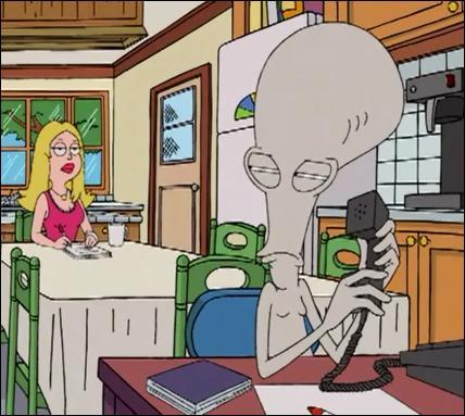 """Le téléphone est déjà occupé. C'est la fripouille du dessin animé """"American Dad"""" qui le monopolise sans arrêt ! Comment s'appelle-t-il déjà ?"""