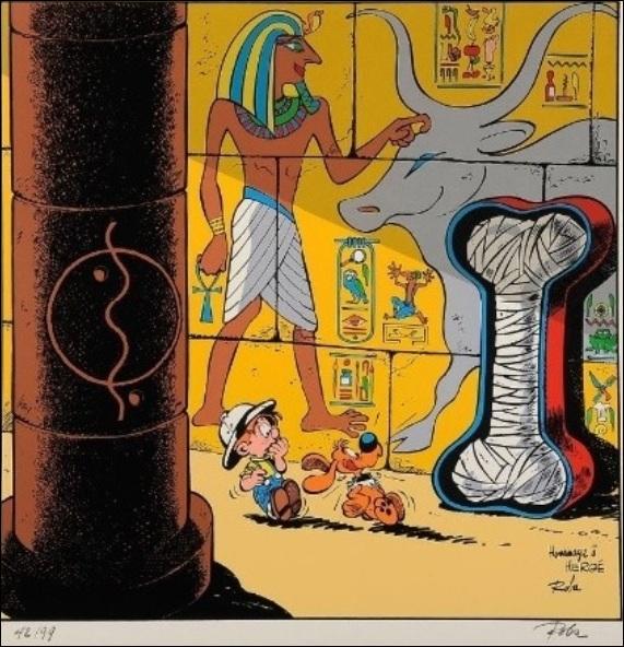 De quel album d'Hergé, Roba fait-il une parodie en y insérant Boule et Bill ?