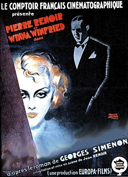 Quel film réalisé par Jean Renoir, fut l'une des premières adaptations cinématographiques d'un roman de Georges Simenon en 1932 ?