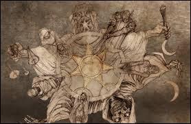 Dans la religion des Sept, que représente la vieille femme ?
