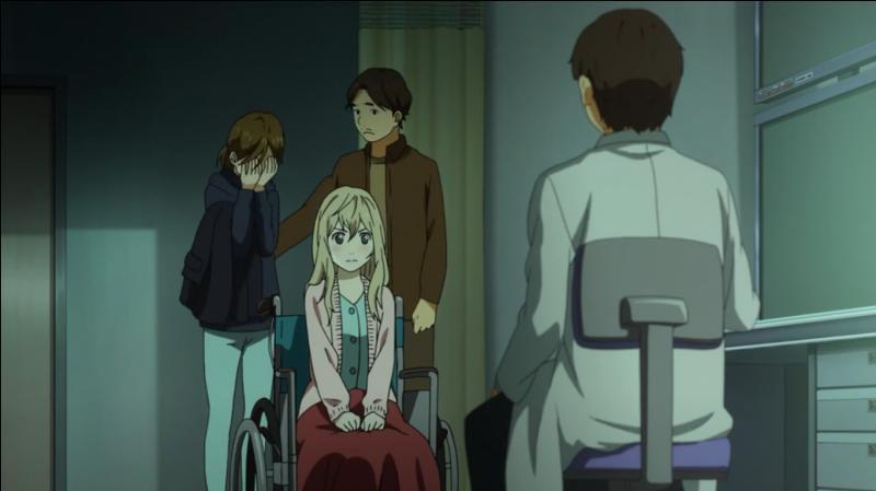 Qu'apprend Kaori après un certain temps d'hospitalisation ?