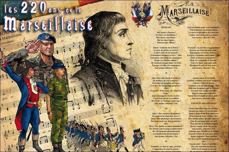 Ah l'hymne national, notre belle Marseillaise ! Elle a pour but de créer du lien entre les générations. En parlant de temps, et de générations, qui était au pouvoir en France lorsque Rouget de Lisle écrivit les six premiers couplets de ce chant ?