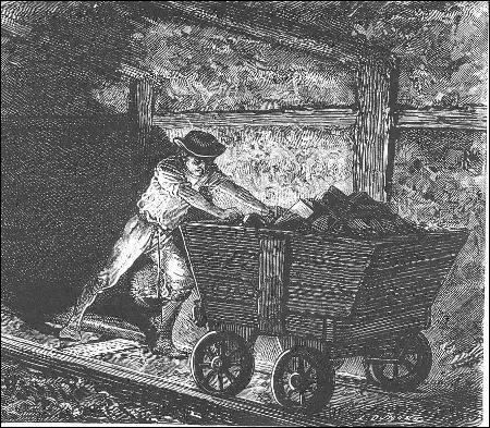 Tuyau de ventilation dans les galeries d'une mine :