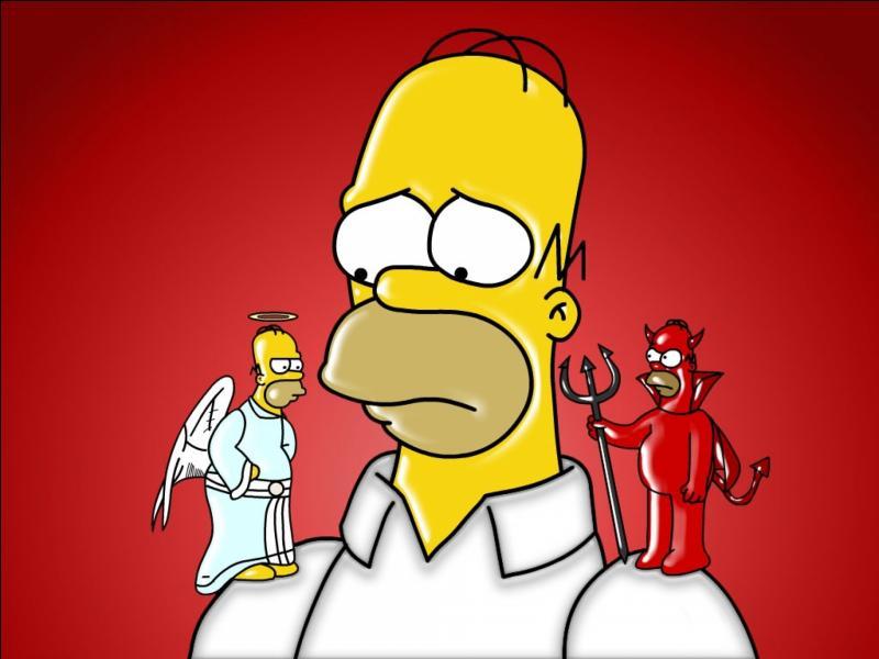 """Gerardo2 semble apprécier cette image tirée des """"Simpson"""". Le petit diable sur l'épaule d'Homer porte un trident. Un dieu de la mythologie grecque tenait également un trident, lequel ?"""