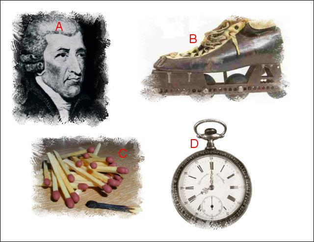 L'illustration nommée « A » est en lien étroit avec l'illustration représentée en : (Indice : Invention de John Walker)