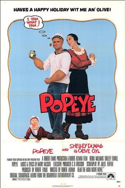 """En 1980 sort le film """"Popeye"""", réalisé par Robert Altman. Le personnage d'Olive Oyl est joué par Shelley Duvall et Popeye est joué par..."""
